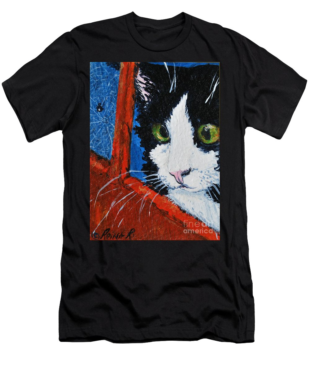 Cat Men's T-Shirt (Athletic Fit) featuring the painting Molly by Reina Resto