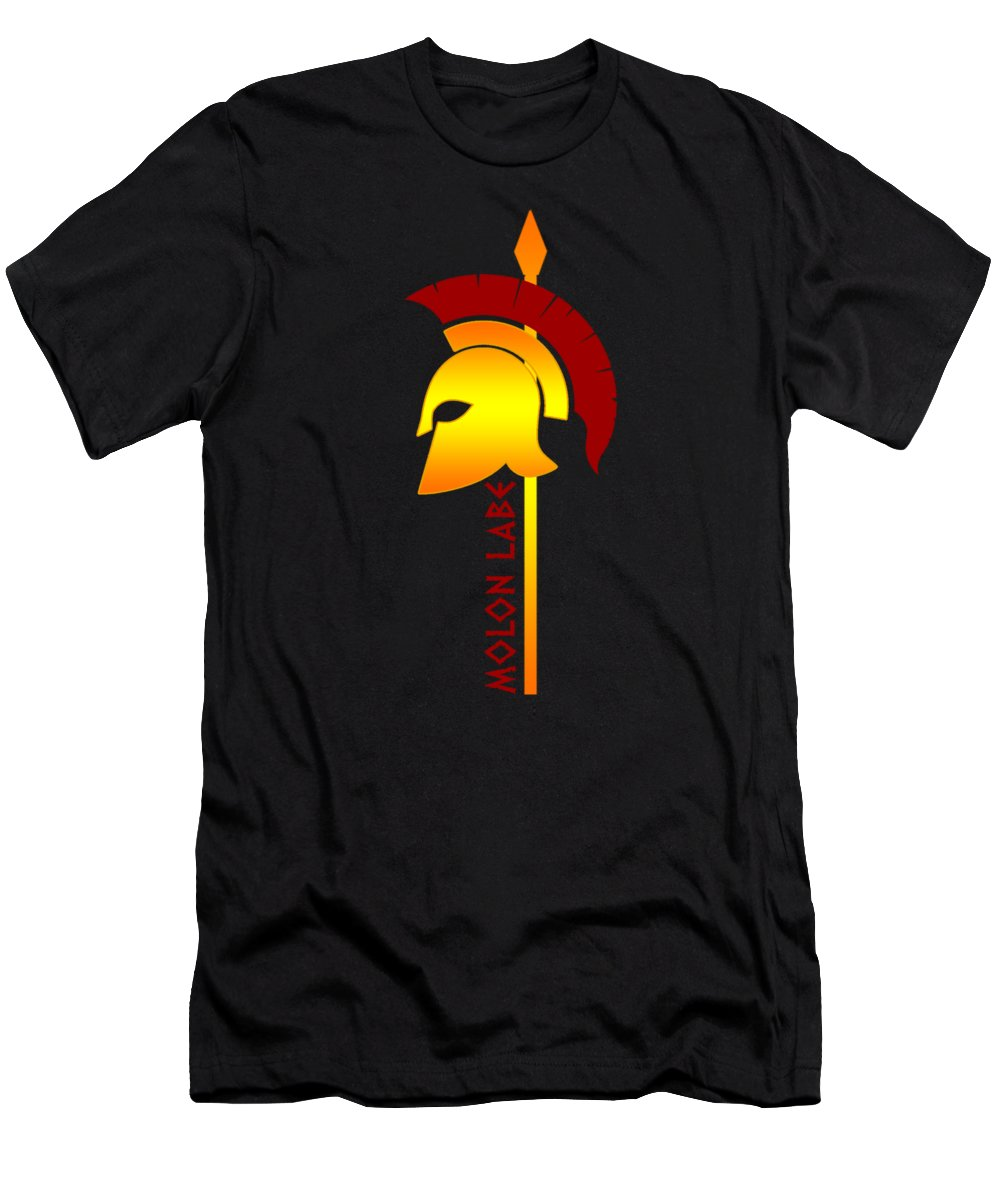 American-flag Men's T-Shirt (Athletic Fit) featuring the digital art Molon Labe Spartan Helmet Warrior Spear by Passion Loft