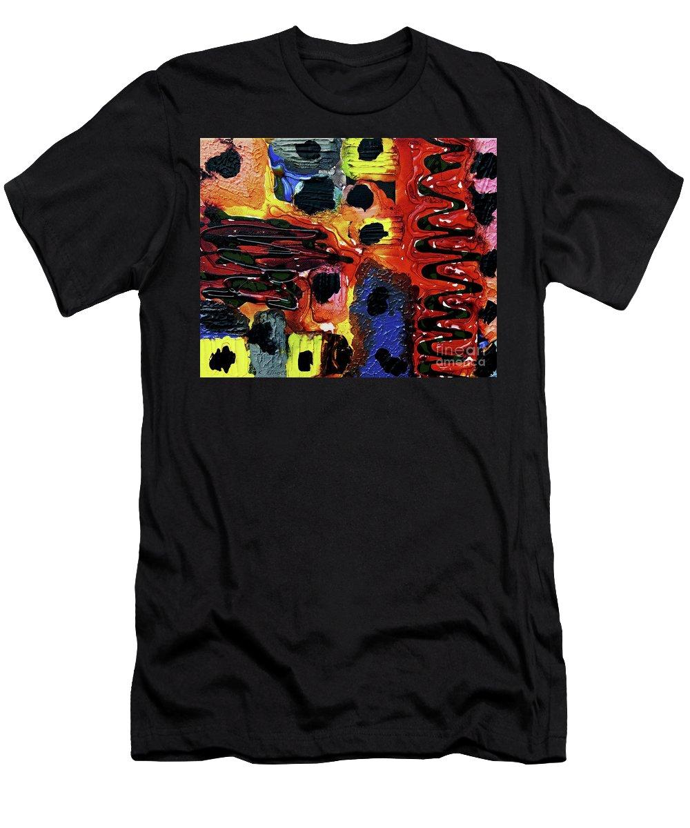Keith Elliott Men's T-Shirt (Athletic Fit) featuring the painting Mom, I Got Sick - V1sb100 by Keith Elliott