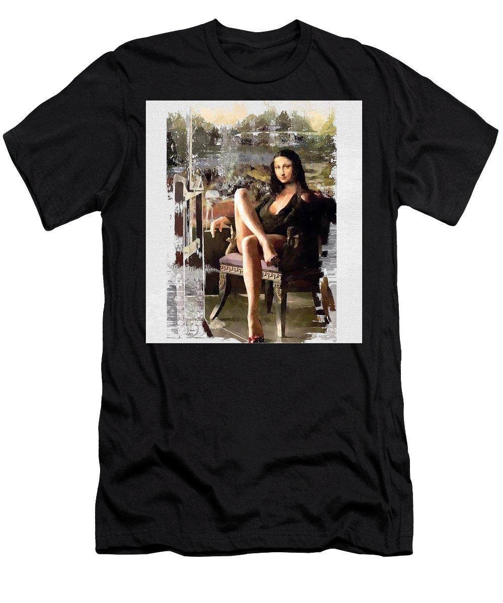 Mona Lissa Men's T-Shirt (Athletic Fit) featuring the digital art Mona by Donald Chandonnet
