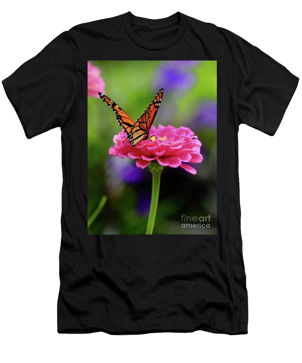 Monarch Butterfly / Zinnia Men's T-Shirt (Athletic Fit) featuring the photograph Monarch On Zinnia 3 by Gregory E Dean