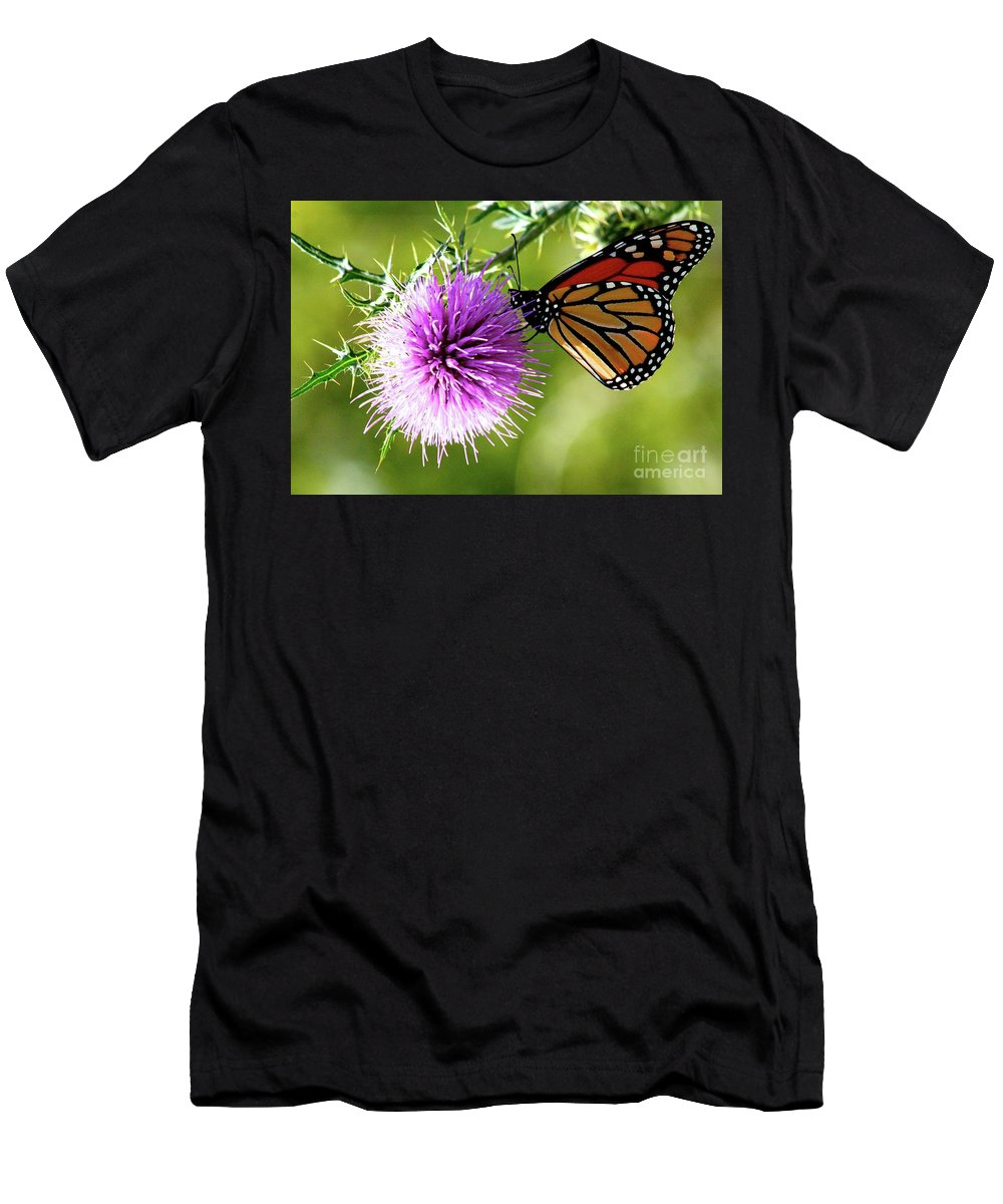Monarch / Thistle Bloom Men's T-Shirt (Athletic Fit) featuring the photograph Monarch Thistle by Gregory E Dean