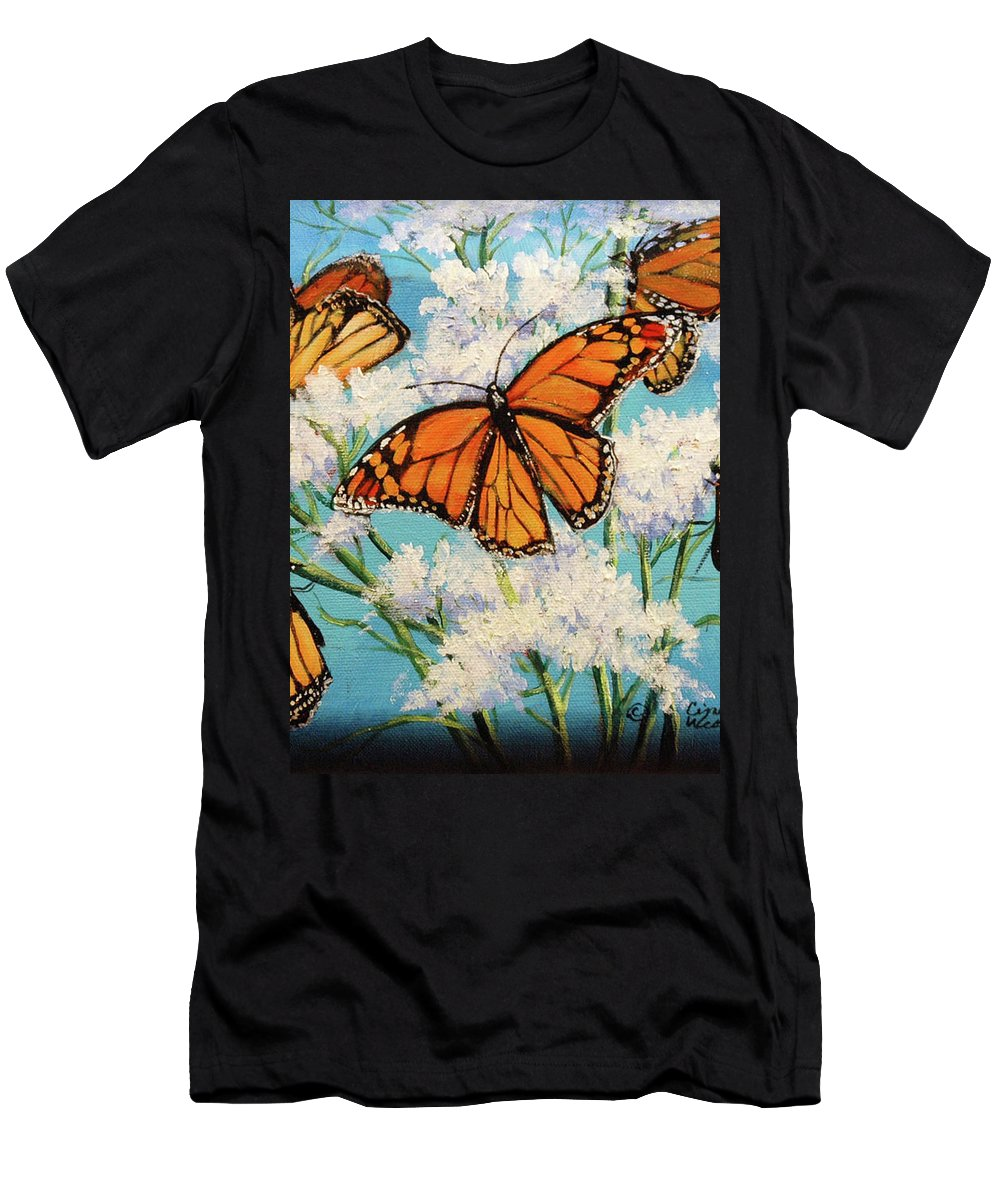 Artwork Men's T-Shirt (Athletic Fit) featuring the painting Monarchs by Cynthia Westbrook