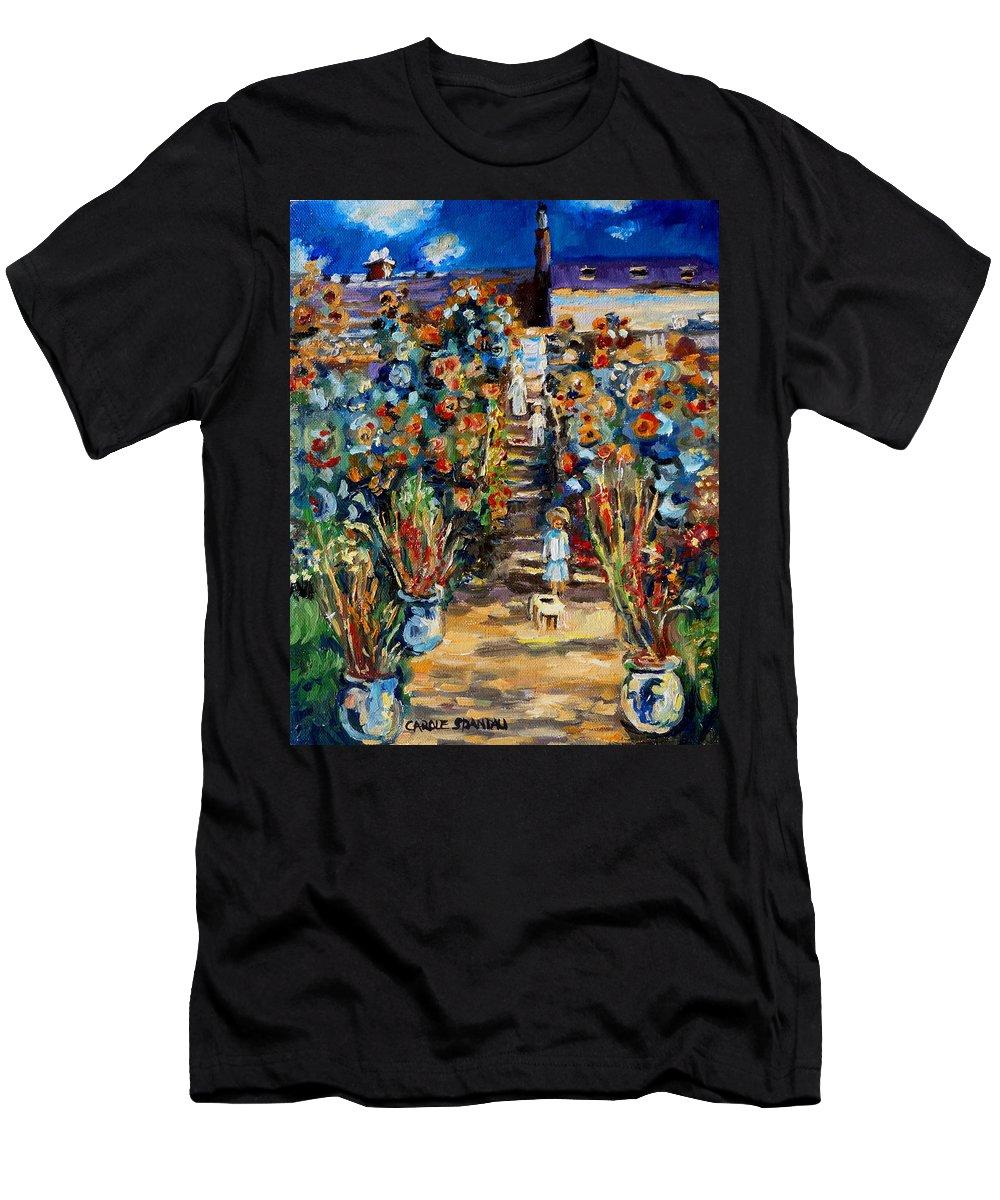 Monet Men's T-Shirt (Athletic Fit) featuring the painting Monets Flower Garden by Carole Spandau