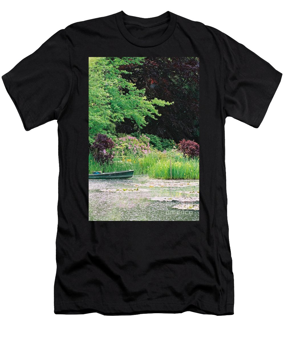 Monet Men's T-Shirt (Athletic Fit) featuring the photograph Monet's Garden Pond And Boat by Nadine Rippelmeyer