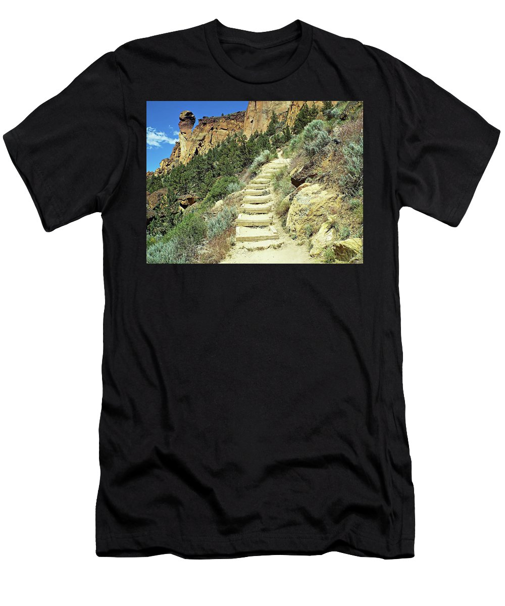 United States Men's T-Shirt (Athletic Fit) featuring the digital art Monkey Face Rock - Smith Rock National Park, Oregon by Joseph Hendrix