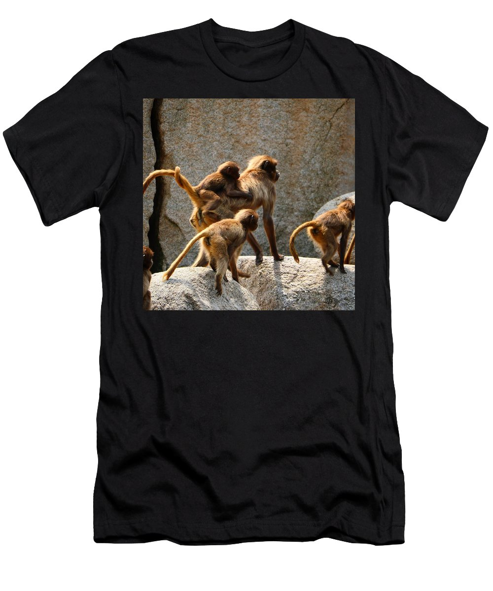 Animal T-Shirt featuring the photograph Monkey Family by Dennis Maier