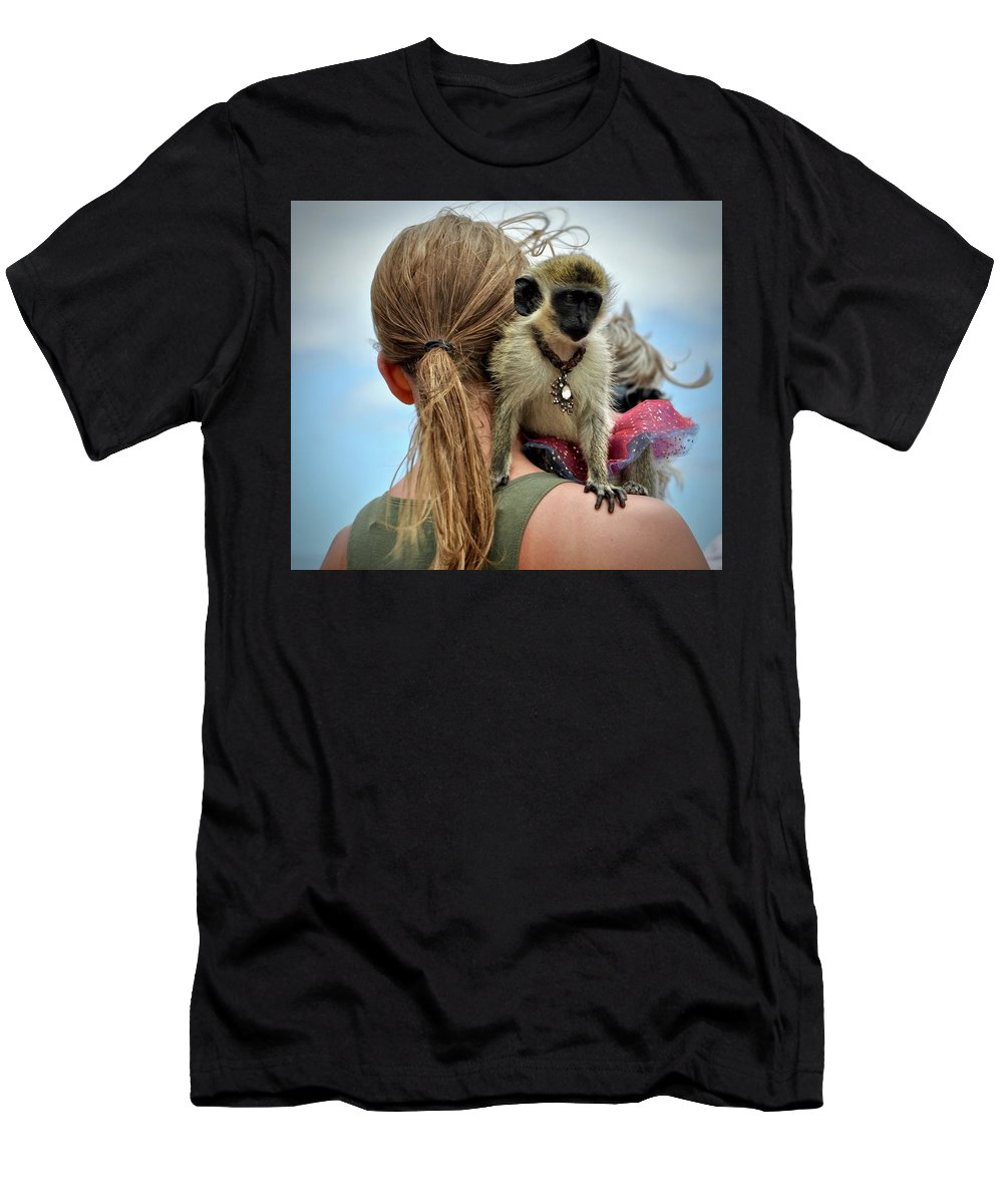 #monkey Men's T-Shirt (Athletic Fit) featuring the photograph Monkeying Around by Cornelia DeDona