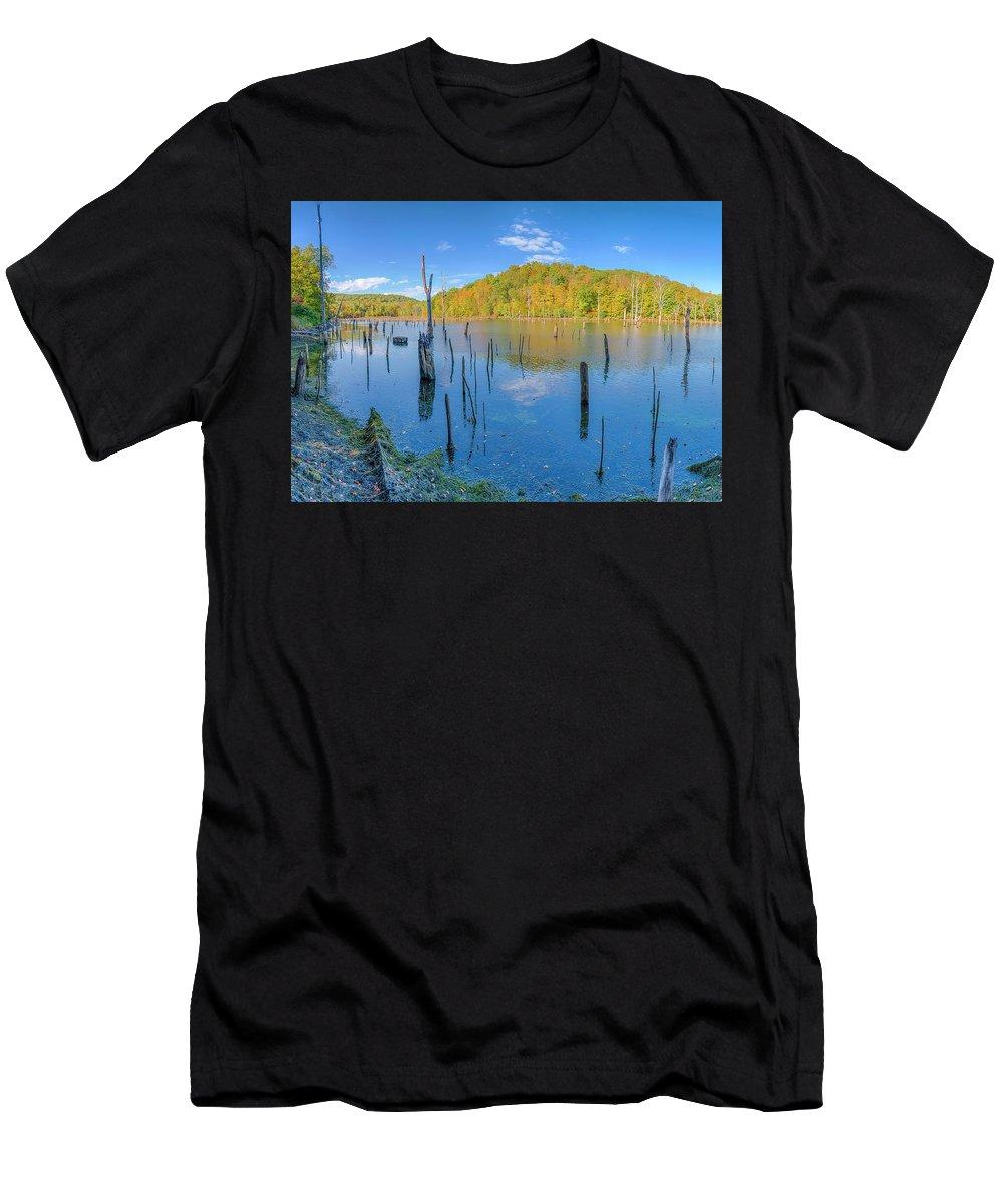 Monksville Men's T-Shirt (Athletic Fit) featuring the photograph Monksville Reservoir Fall 2016 by John Prause