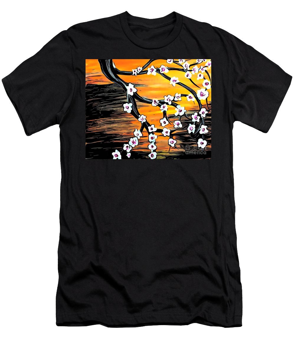 Cherry Blossoms Men's T-Shirt (Athletic Fit) featuring the painting Mono No Aware by Jenny Revitz Soper