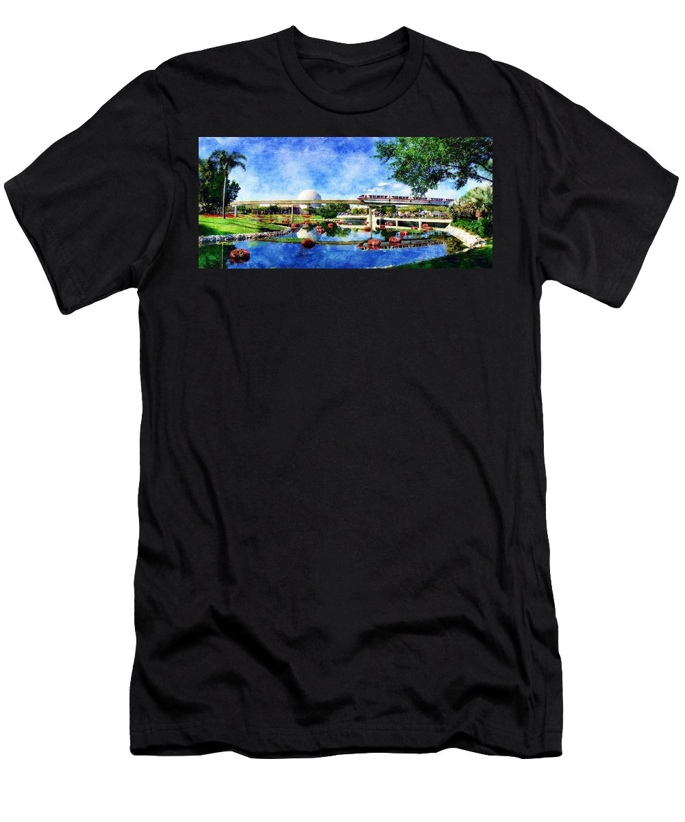 Epcot Men's T-Shirt (Athletic Fit) featuring the digital art Monorail Red - Coming 'round The Bend by Sandy MacGowan