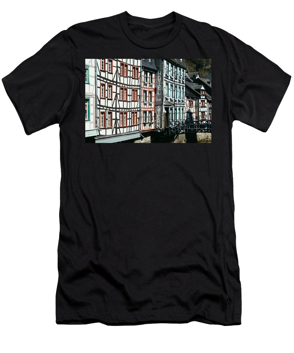 Hotel Men's T-Shirt (Athletic Fit) featuring the photograph Monschau Hotel by Pati Photography