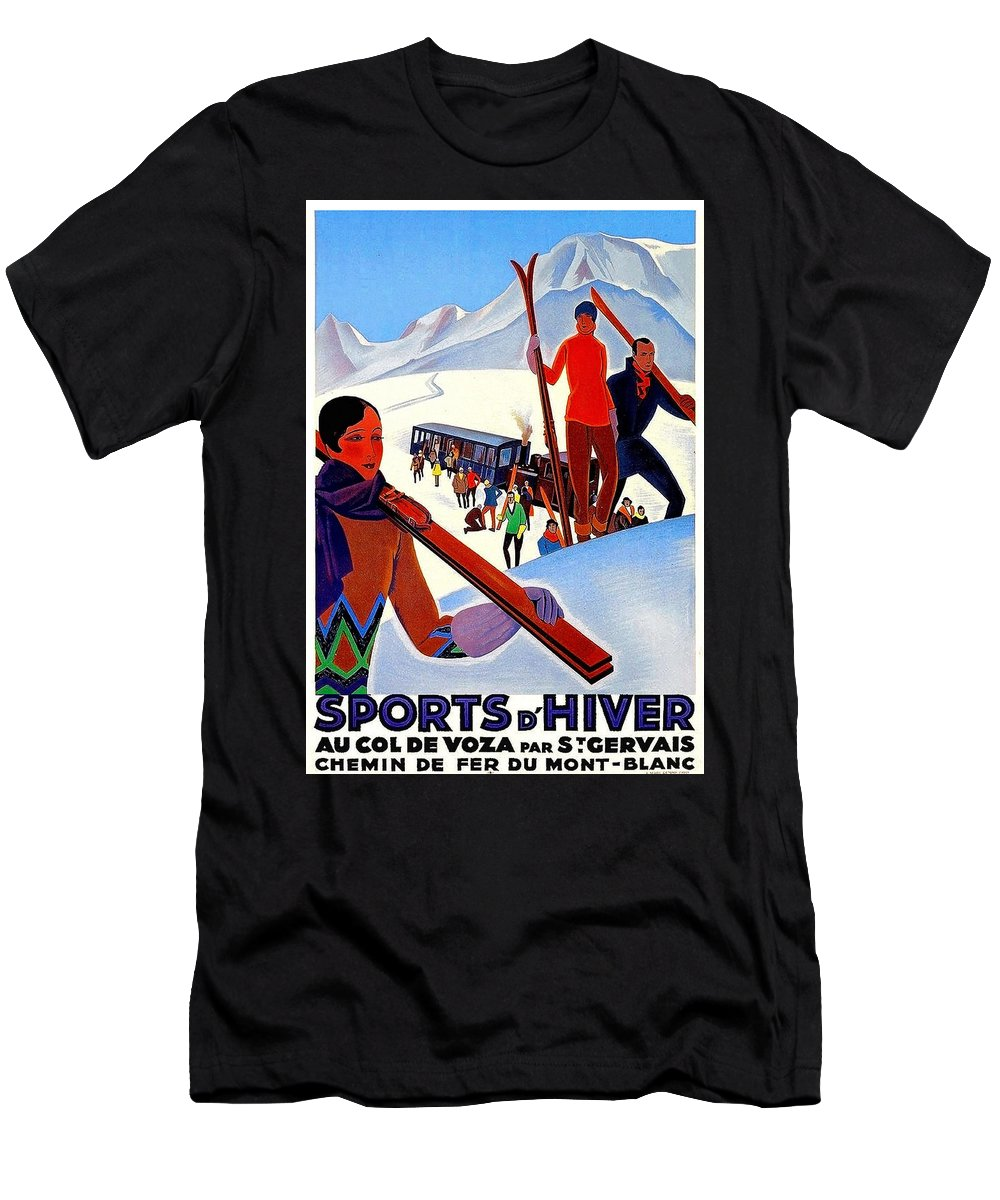 Mont Blanc Men's T-Shirt (Athletic Fit) featuring the painting Mont Blanc, Mountain, France, Skiing by Long Shot