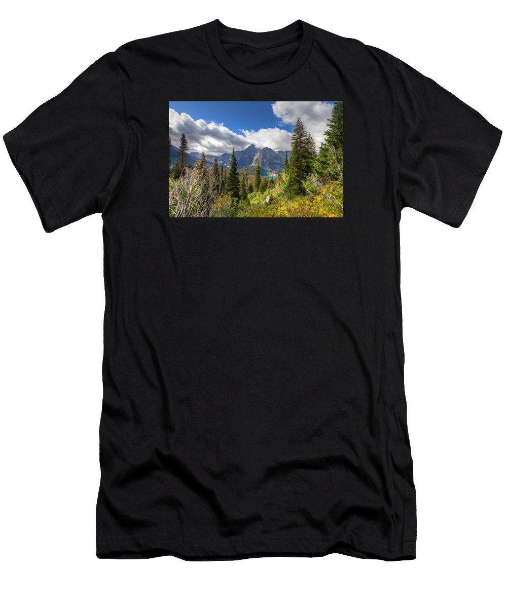 Montana Men's T-Shirt (Athletic Fit) featuring the photograph Montana-glacier National Park-grinnell Glacier Trail by Arlene Waller