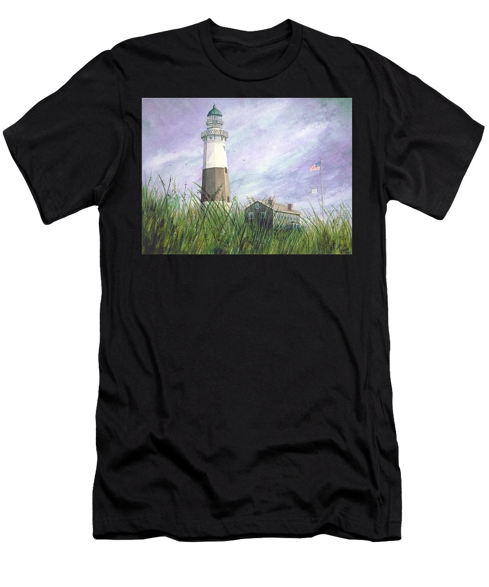 Men's T-Shirt (Athletic Fit) featuring the painting Montauk Lighthouse by Tony Scarmato