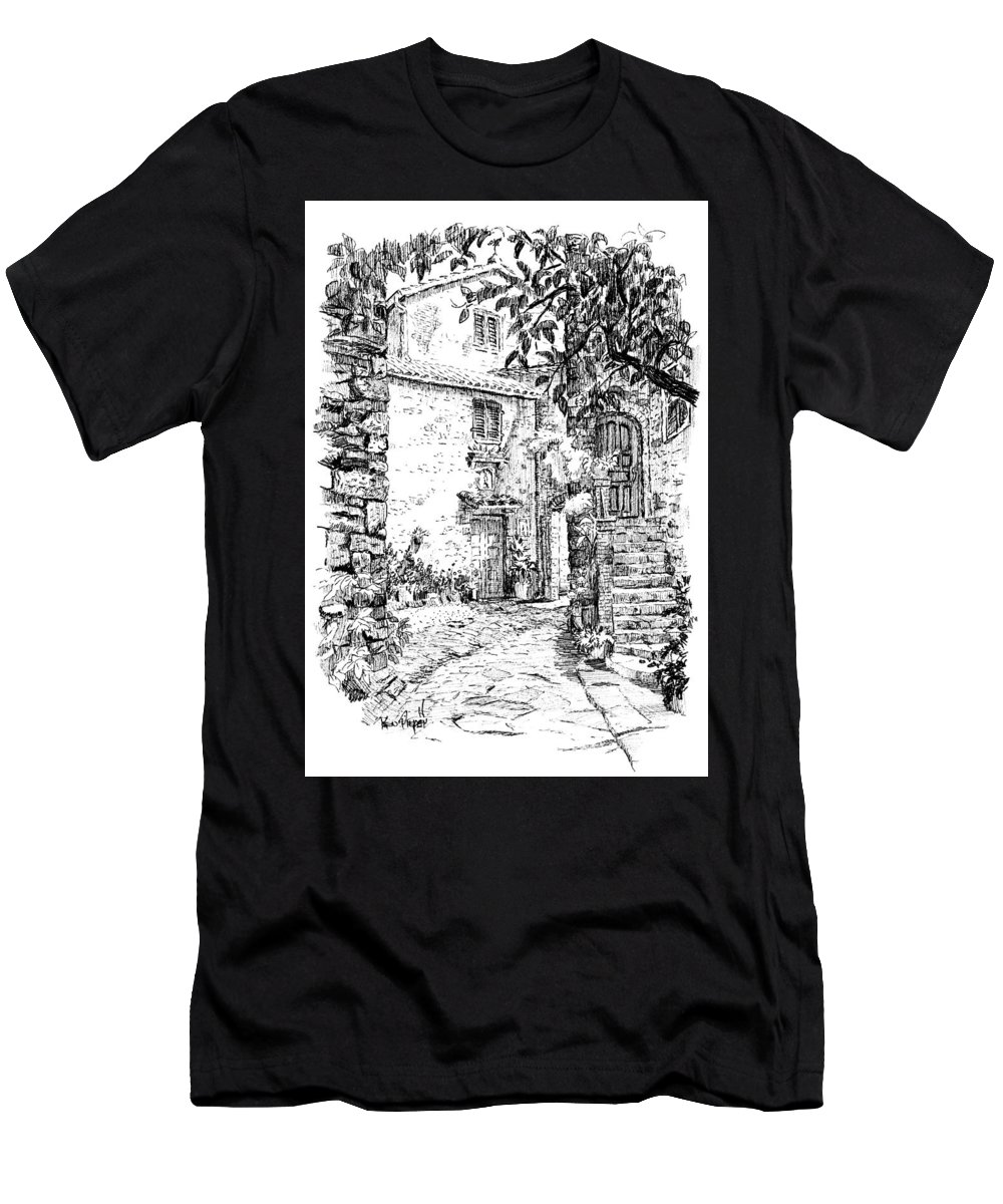 Montefioralle Men's T-Shirt (Athletic Fit) featuring the drawing Montefioralle Tuscany by Ken Pieper