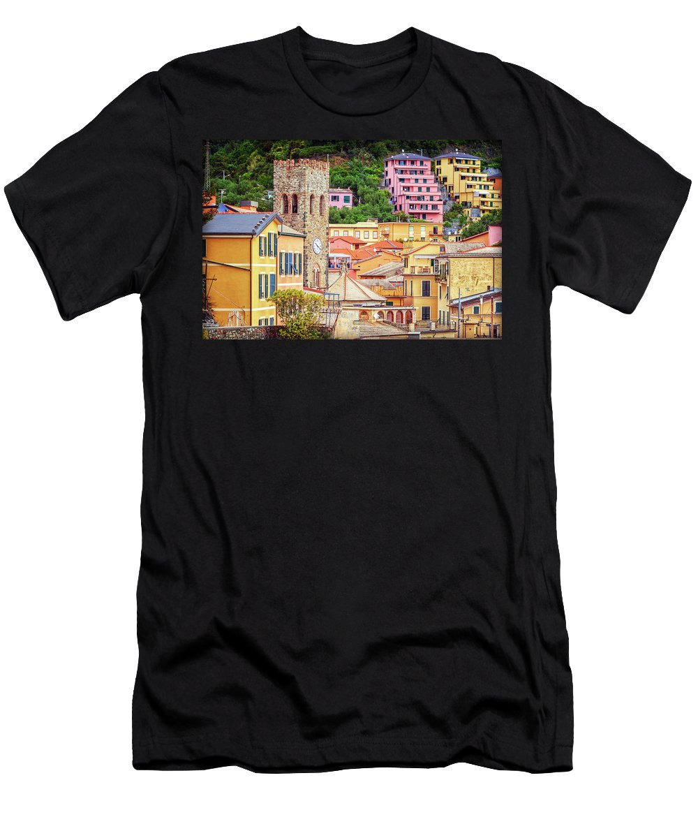 Joan Carroll Men's T-Shirt (Athletic Fit) featuring the photograph Monterosso Al Mare Cinque Terre Italy by Joan Carroll