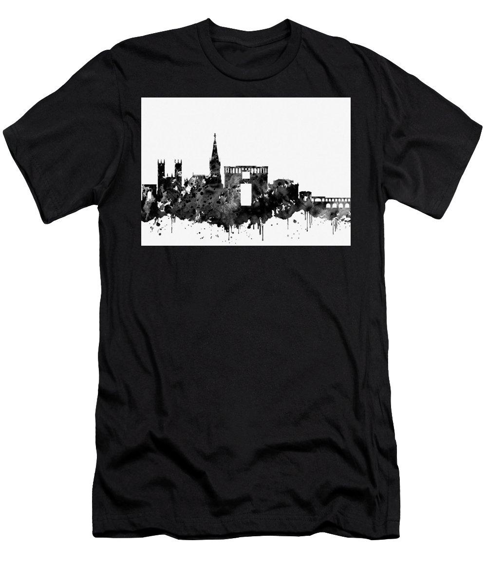 Montpellier Skyline Men's T-Shirt (Athletic Fit) featuring the digital art Montpellier Skyline-black by Erzebet S