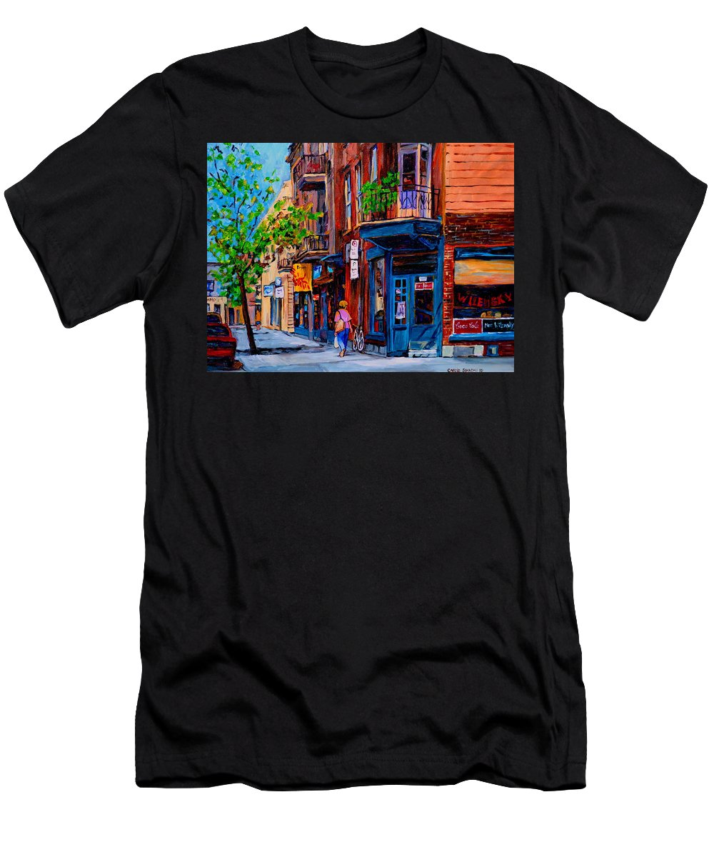 Montreal Men's T-Shirt (Athletic Fit) featuring the painting Montreal Depanneurs by Carole Spandau