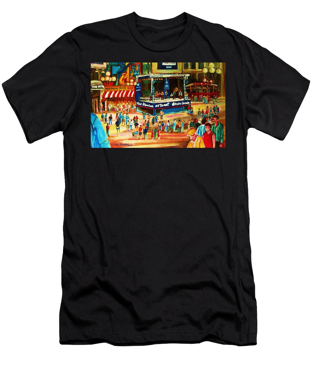Montreal Men's T-Shirt (Athletic Fit) featuring the painting Montreal Jazz Festival by Carole Spandau
