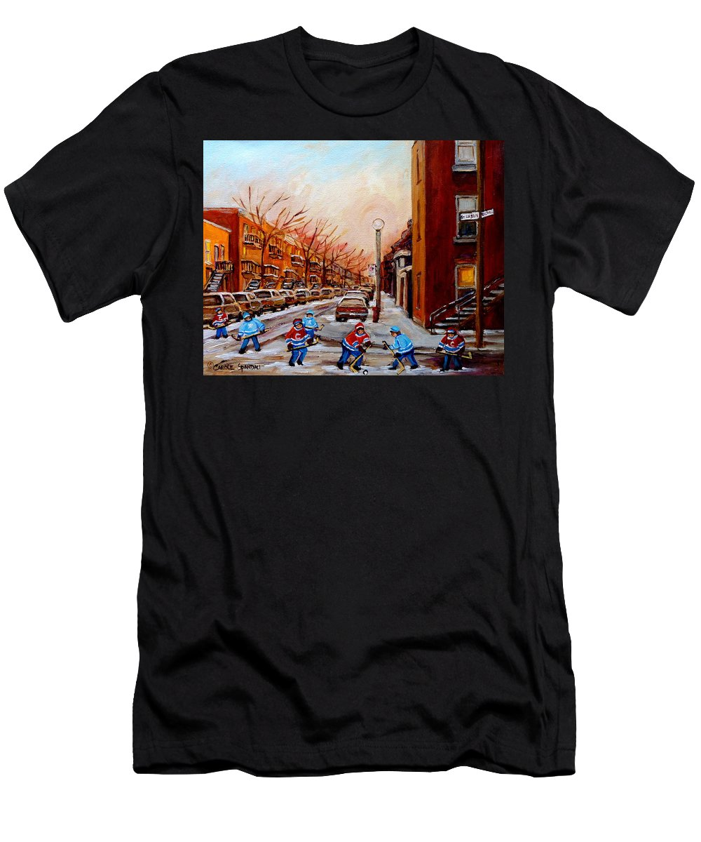 Montreal Streetscene Men's T-Shirt (Athletic Fit) featuring the painting Montreal Street Hockey Game by Carole Spandau