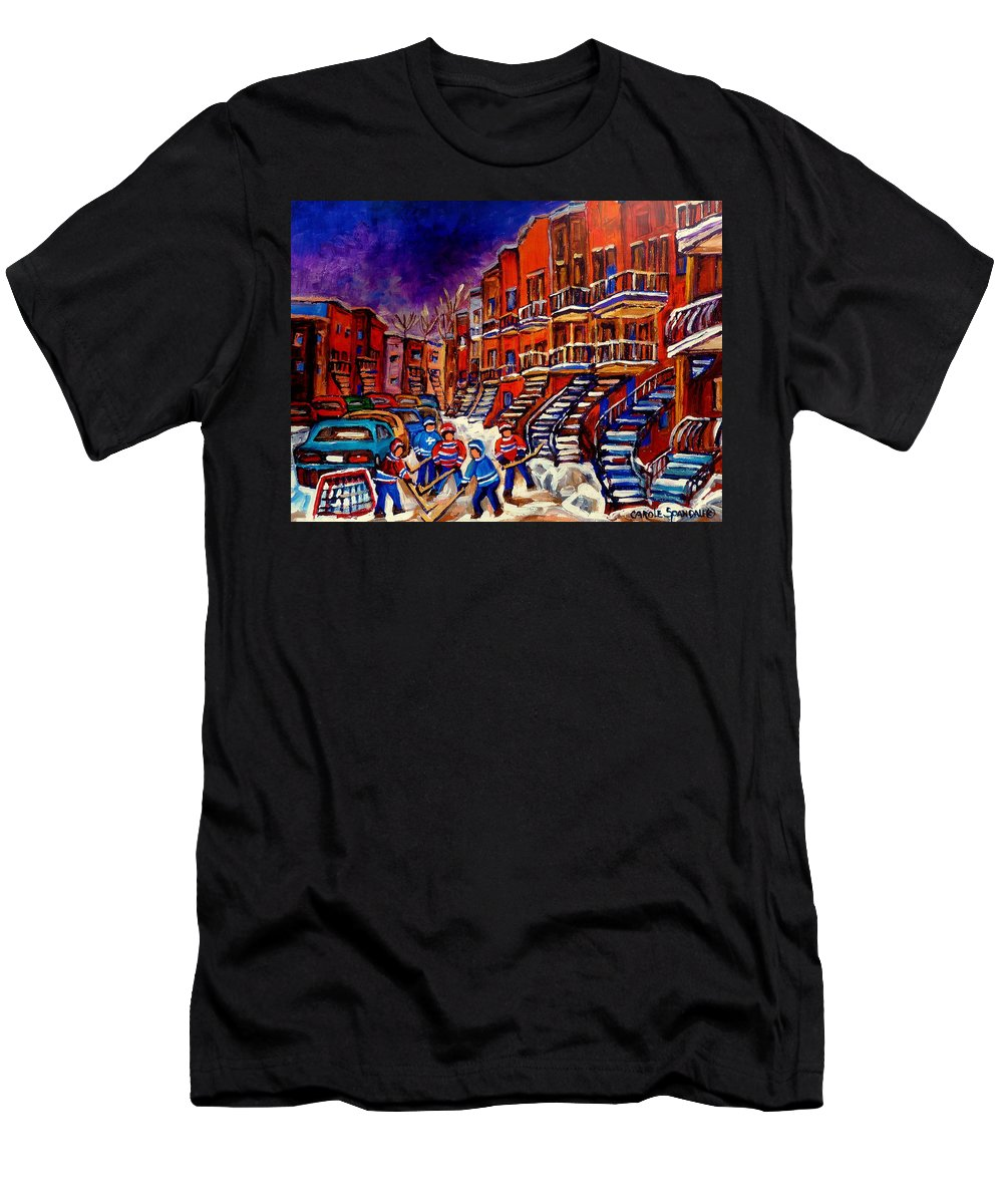 Montreal Men's T-Shirt (Athletic Fit) featuring the painting Montreal Street Scene Paintings Hockey On De Bullion Street  by Carole Spandau