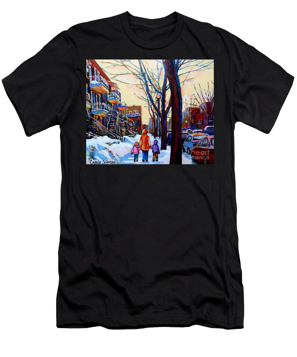 Montreal Men's T-Shirt (Athletic Fit) featuring the painting Montreal Winter by Carole Spandau