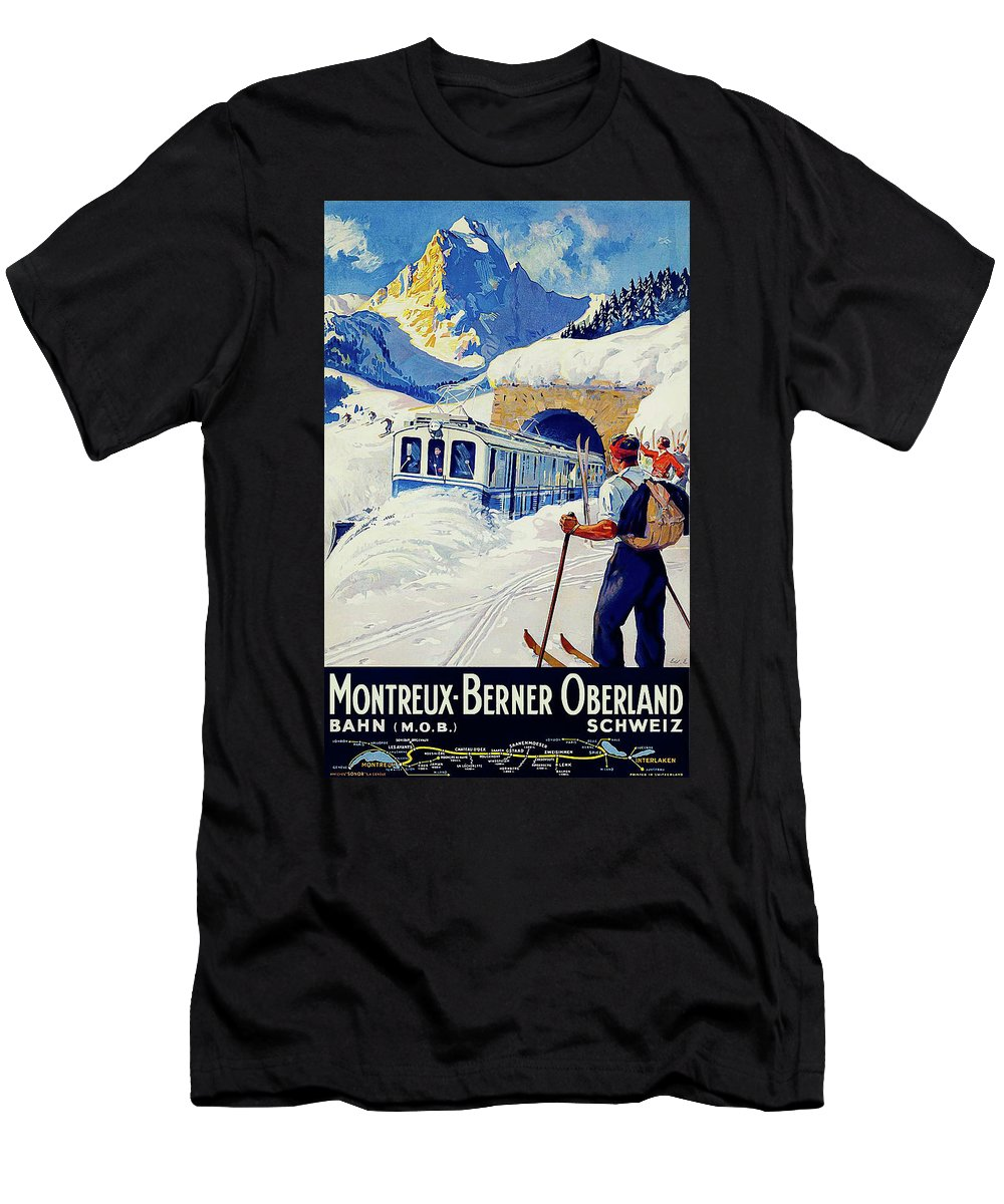 Montreux Men's T-Shirt (Athletic Fit) featuring the painting Montreux, Berner Oberland Railway, Switzerland, Winter, Ski, Sport by Long Shot