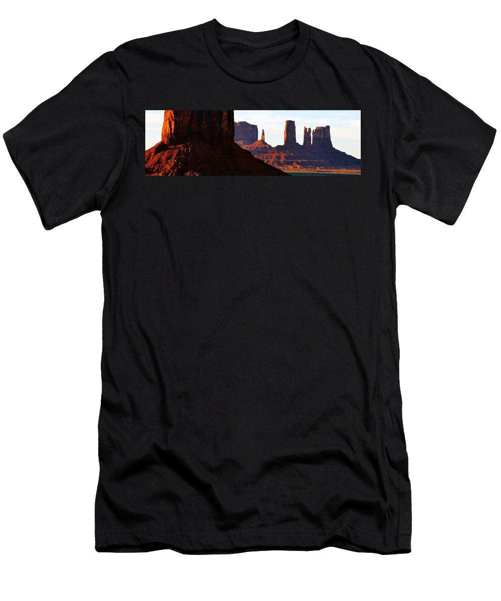Panoramic Photography Men's T-Shirt (Athletic Fit) featuring the photograph Monument Valley Pano Work D by David Lee Thompson