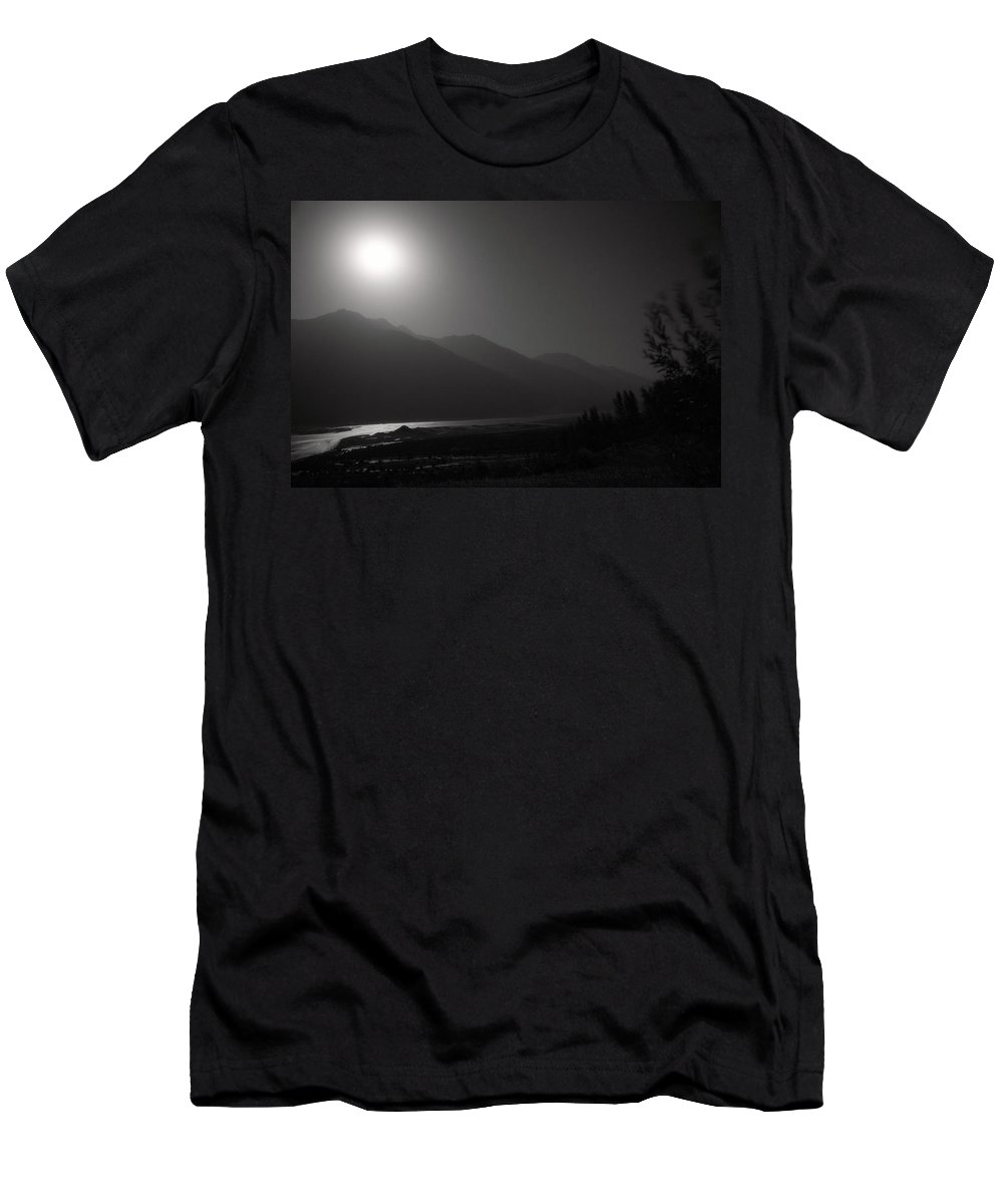 Asia Men's T-Shirt (Athletic Fit) featuring the photograph Moon Above Pyandzh Valley by Konstantin Dikovsky