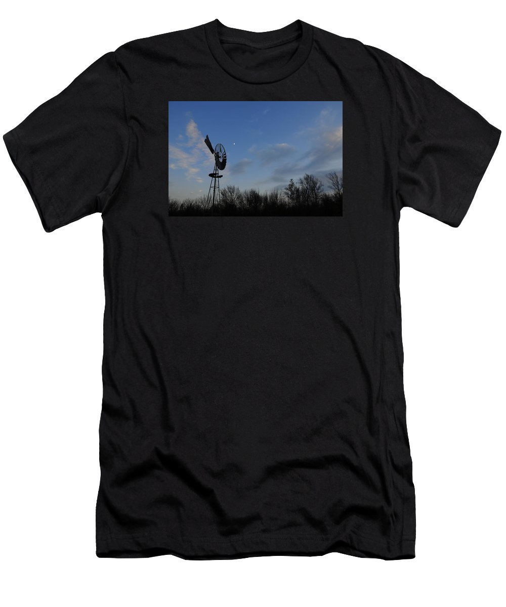 Wind Men's T-Shirt (Athletic Fit) featuring the photograph Moon And Windmill by David Arment
