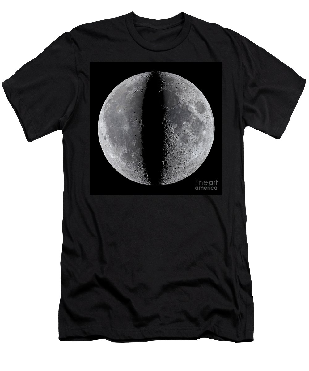 Moon Men's T-Shirt (Athletic Fit) featuring the photograph Moon Composite, First And Last Quarter by Babak Tafreshi
