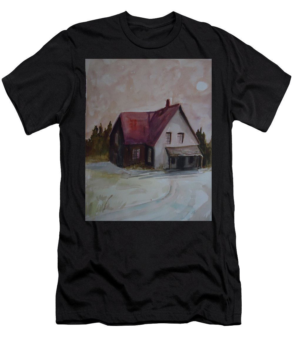 Landscape Men's T-Shirt (Athletic Fit) featuring the painting Moon House by Charme Curtin