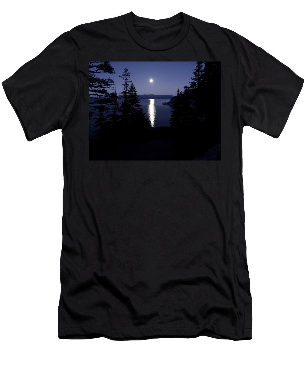 Moon Men's T-Shirt (Athletic Fit) featuring the photograph Moon On Lake Tahoe by Charlotte Patterson