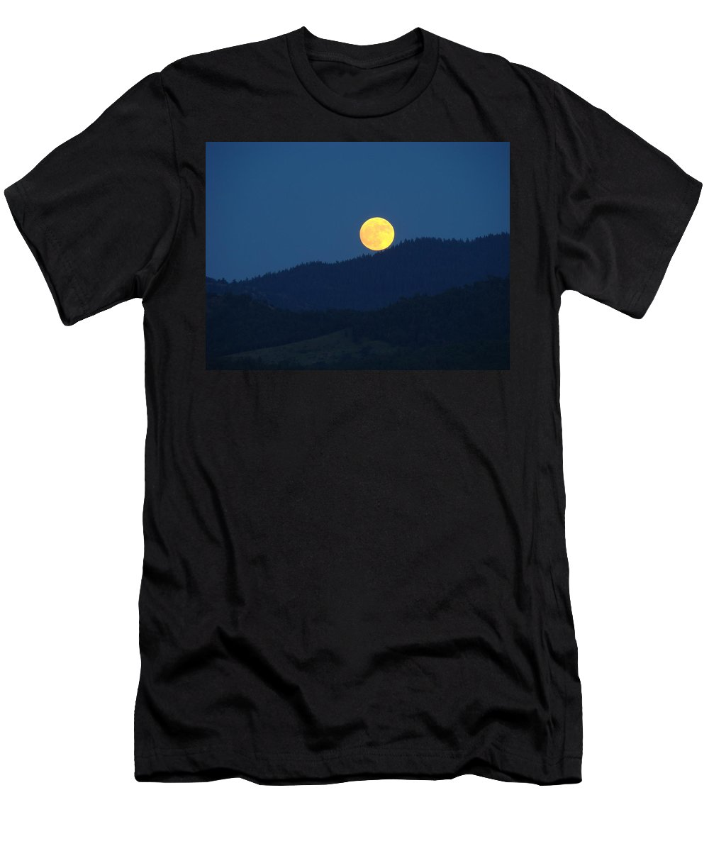Moon Men's T-Shirt (Athletic Fit) featuring the photograph Moon Orange Full Moon Blue Twilight Mountains Giclee Art Prints by Baslee Troutman