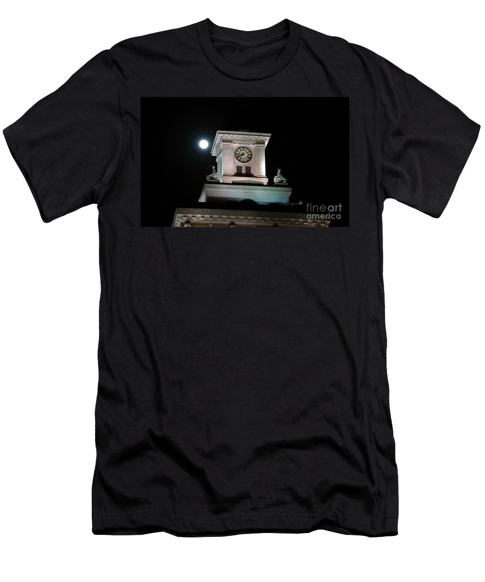 Full Moon Men's T-Shirt (Athletic Fit) featuring the photograph Moon Over City Hall by David Lee Thompson