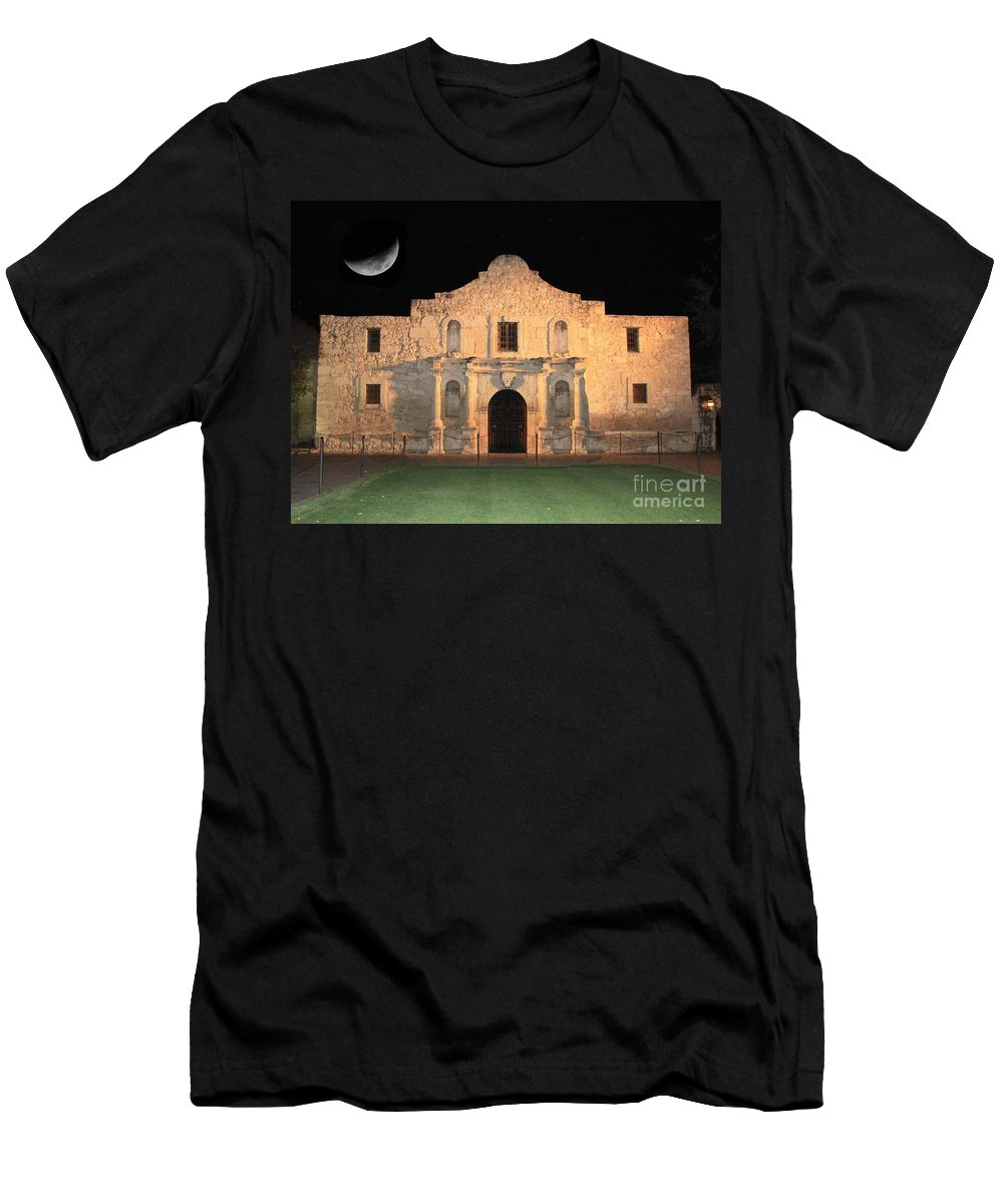 The Alamo Men's T-Shirt (Athletic Fit) featuring the photograph Moon Over The Alamo by Carol Groenen