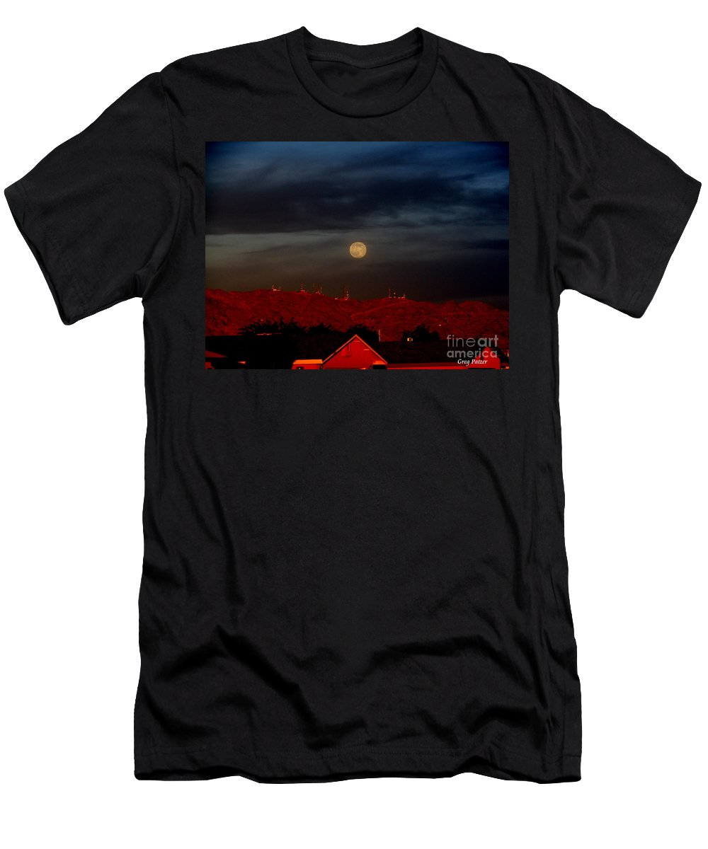 Patzer Men's T-Shirt (Athletic Fit) featuring the photograph Moon Over Yuma by Greg Patzer