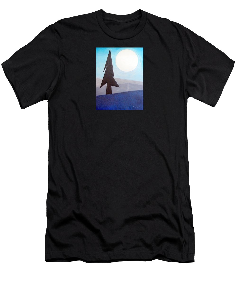 Impressionist Painting Men's T-Shirt (Athletic Fit) featuring the painting Moon Rings by J R Seymour