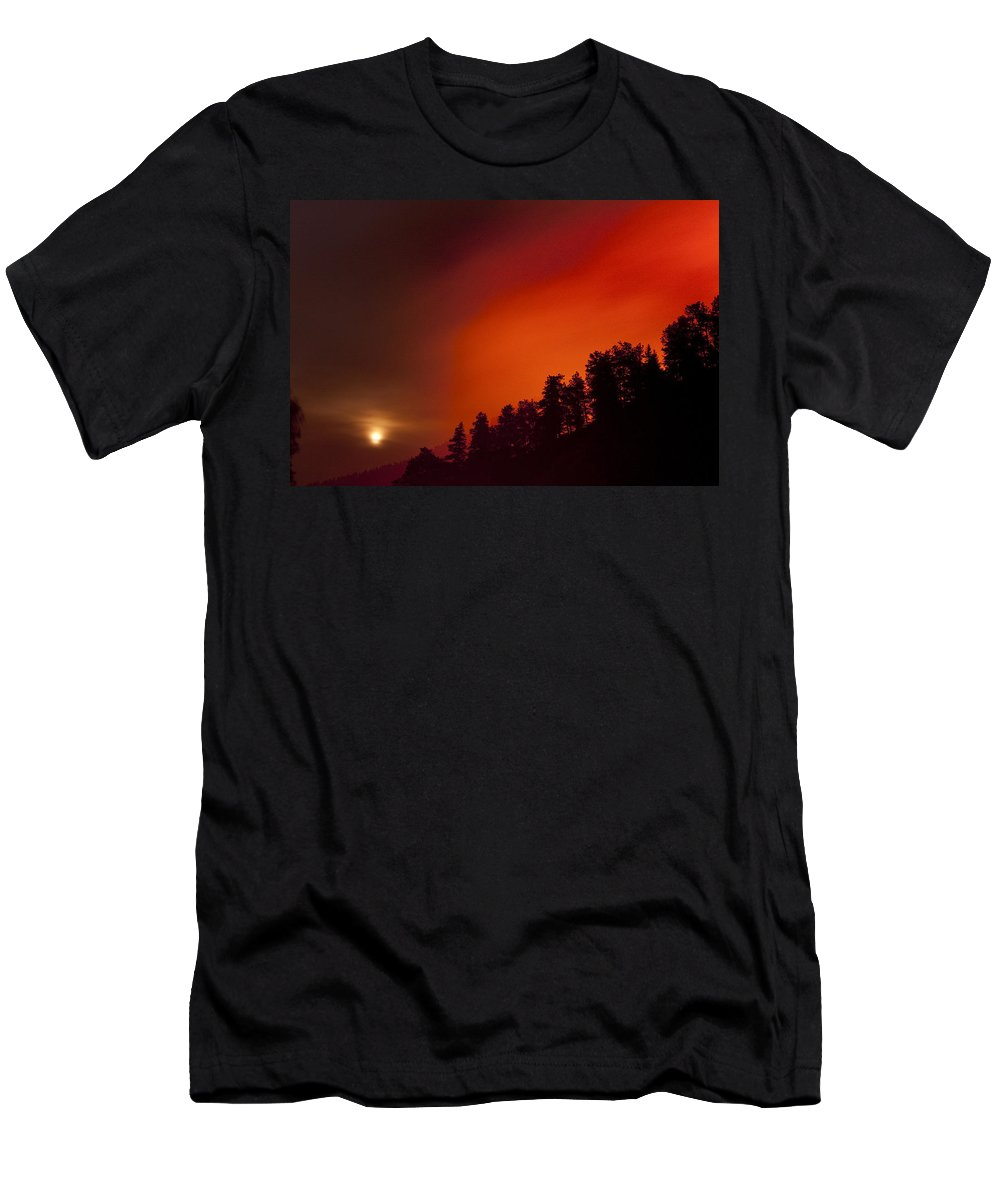 Wild Fire Men's T-Shirt (Athletic Fit) featuring the photograph Moon Rising With A Wild Fire by James BO Insogna