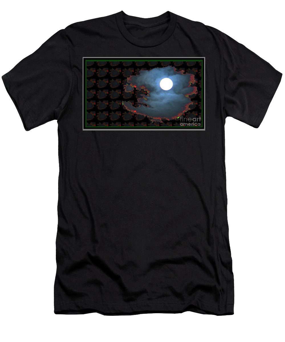 Moon Men's T-Shirt (Athletic Fit) featuring the digital art Moon Through Clouds Photography With Graphic Flavour Created By Navinjoshi At Fineartamerica.co by Navin Joshi