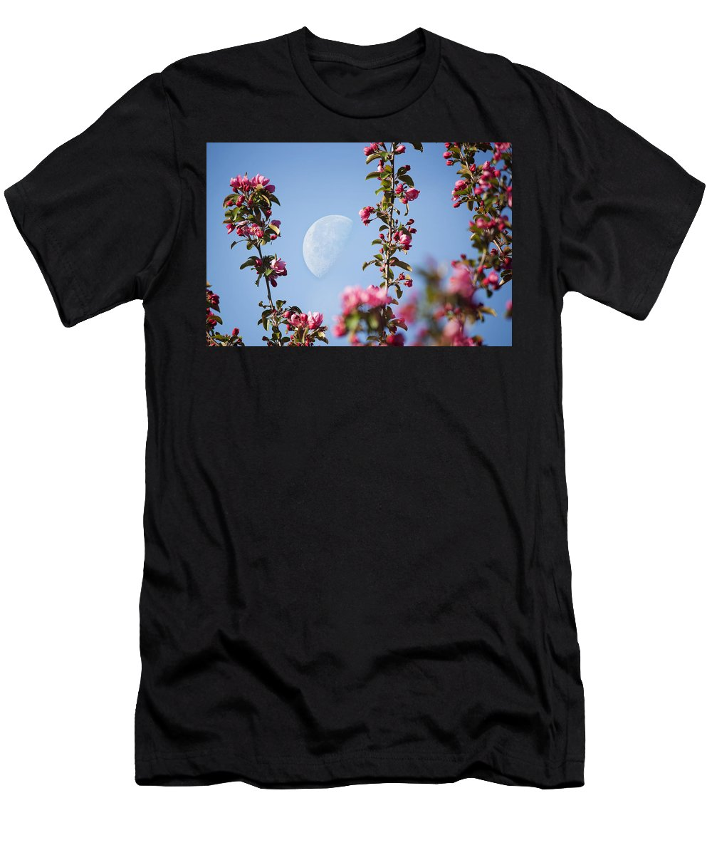 Moon Through The Crabapple Blossoms Men's T-Shirt (Athletic Fit) featuring the photograph Moon Through The Crabapple Blossoms by Jemmy Archer