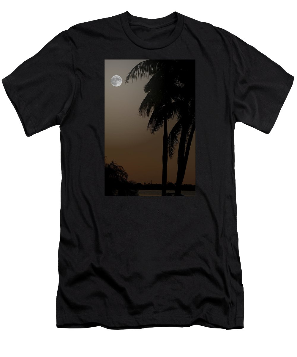 Moonlight Men's T-Shirt (Athletic Fit) featuring the photograph Moonlight And Palms by Diane Merkle