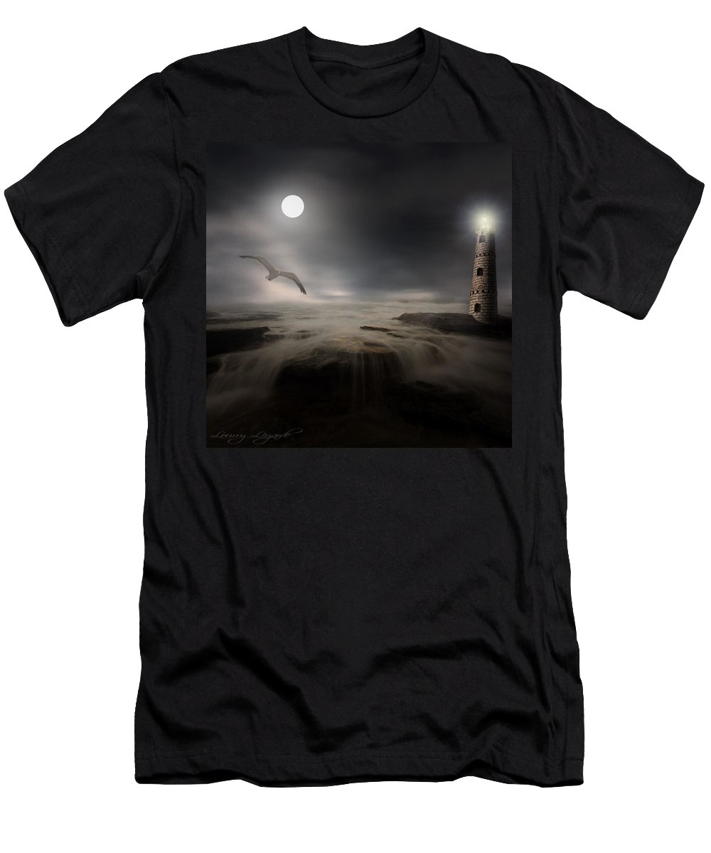 Lighthouse Men's T-Shirt (Athletic Fit) featuring the photograph Moonlight Lighthouse by Lourry Legarde