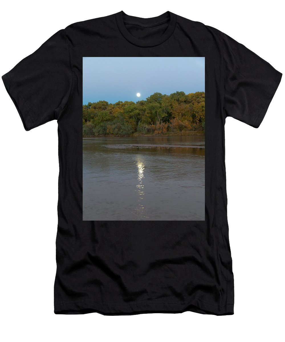 Moonlight Men's T-Shirt (Athletic Fit) featuring the photograph Moonlight On The Rio Grande by Tim McCarthy