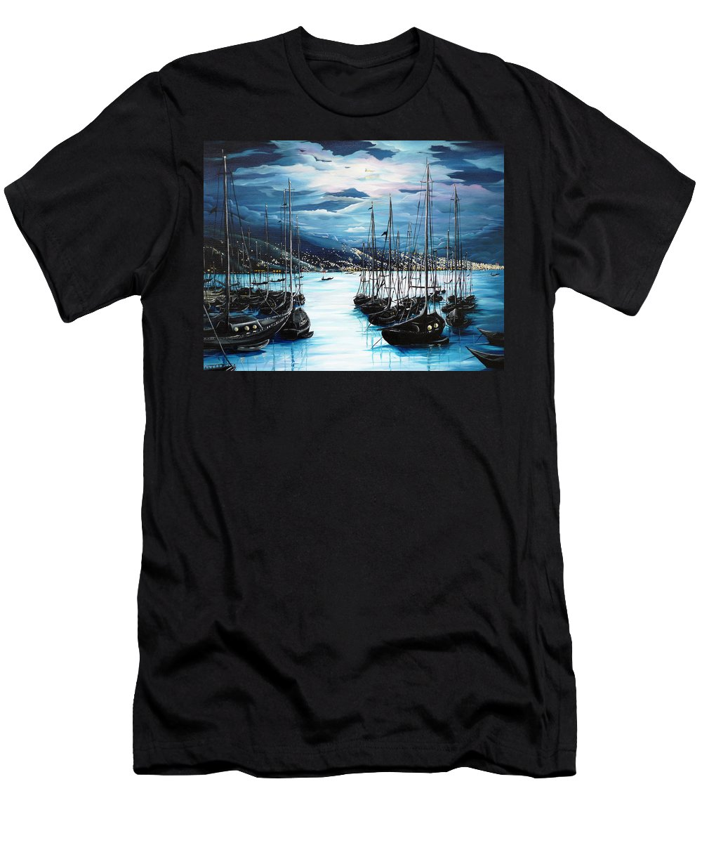 Ocean Painting  Caribbean Seascape Painting Moonlight Painting Yachts Painting Marina Moonlight Port Of Spain Trinidad And Tobago Painting Greeting Card Painting Men's T-Shirt (Athletic Fit) featuring the painting Moonlight Over Port Of Spain by Karin Dawn Kelshall- Best