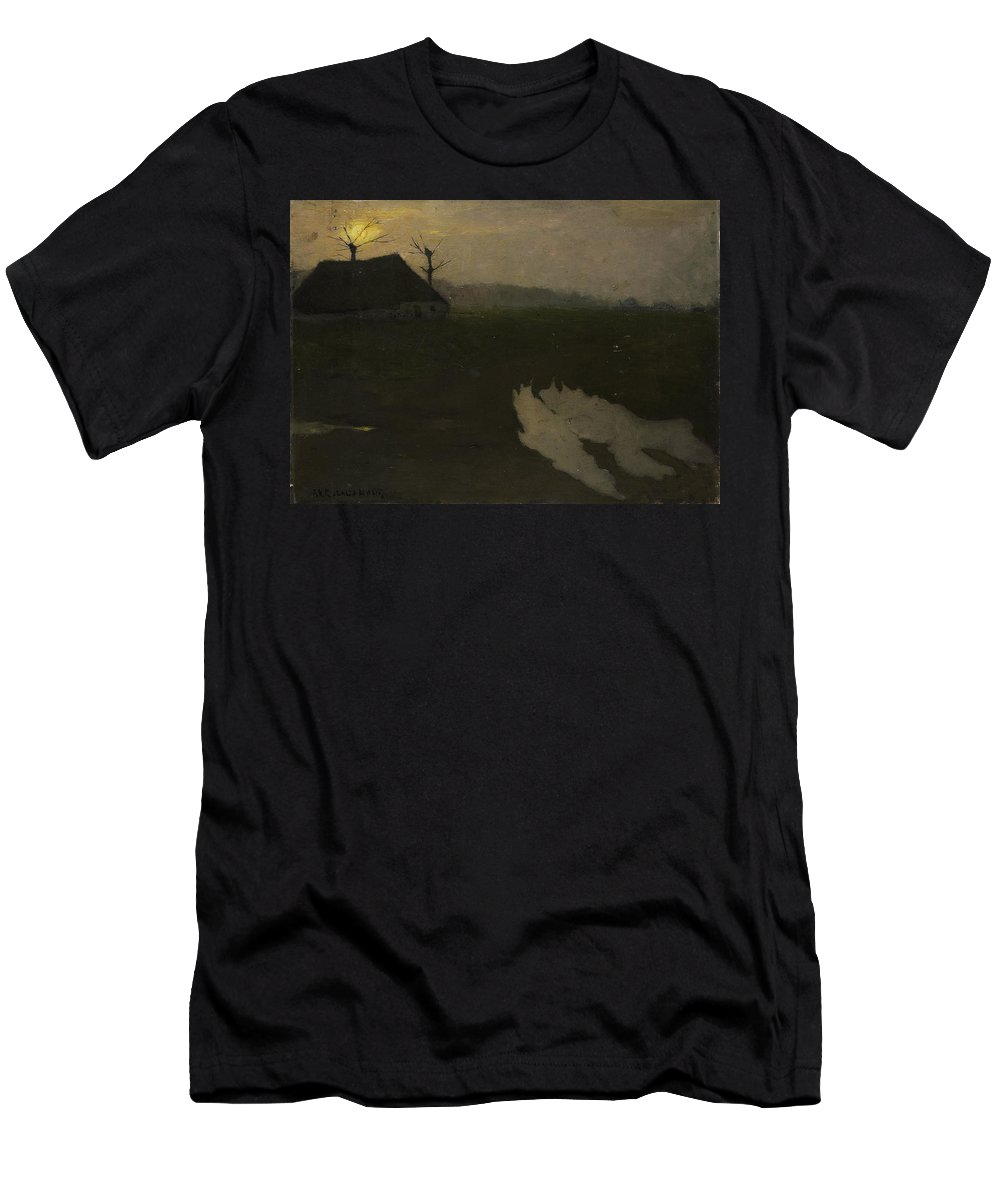 Landscape By Moonlight Men's T-Shirt (Athletic Fit) featuring the painting Moonlight, Richard Roland Holst by MotionAge Designs