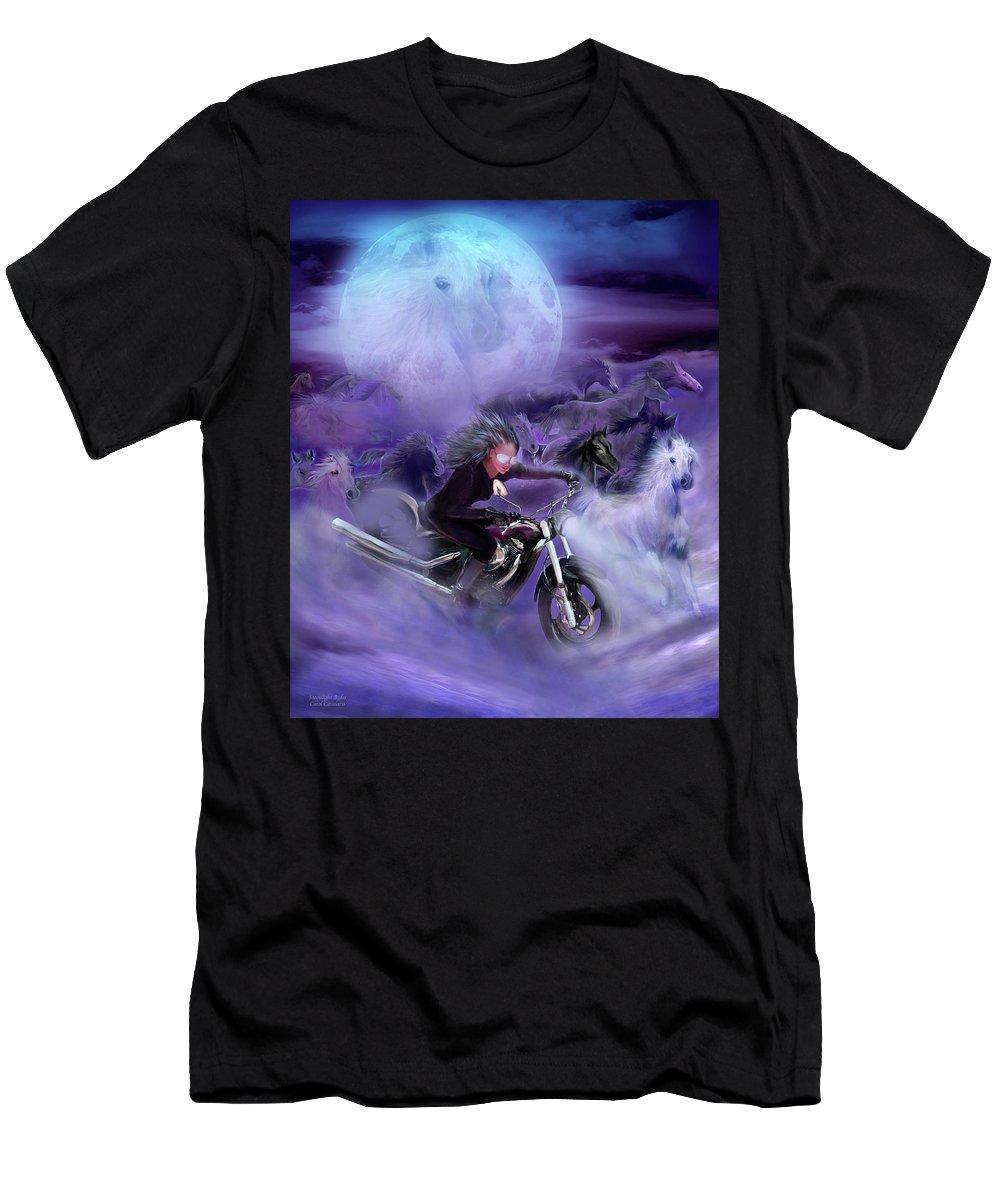Carol Cavalaris T-Shirt featuring the mixed media Moonlight Rider by Carol Cavalaris