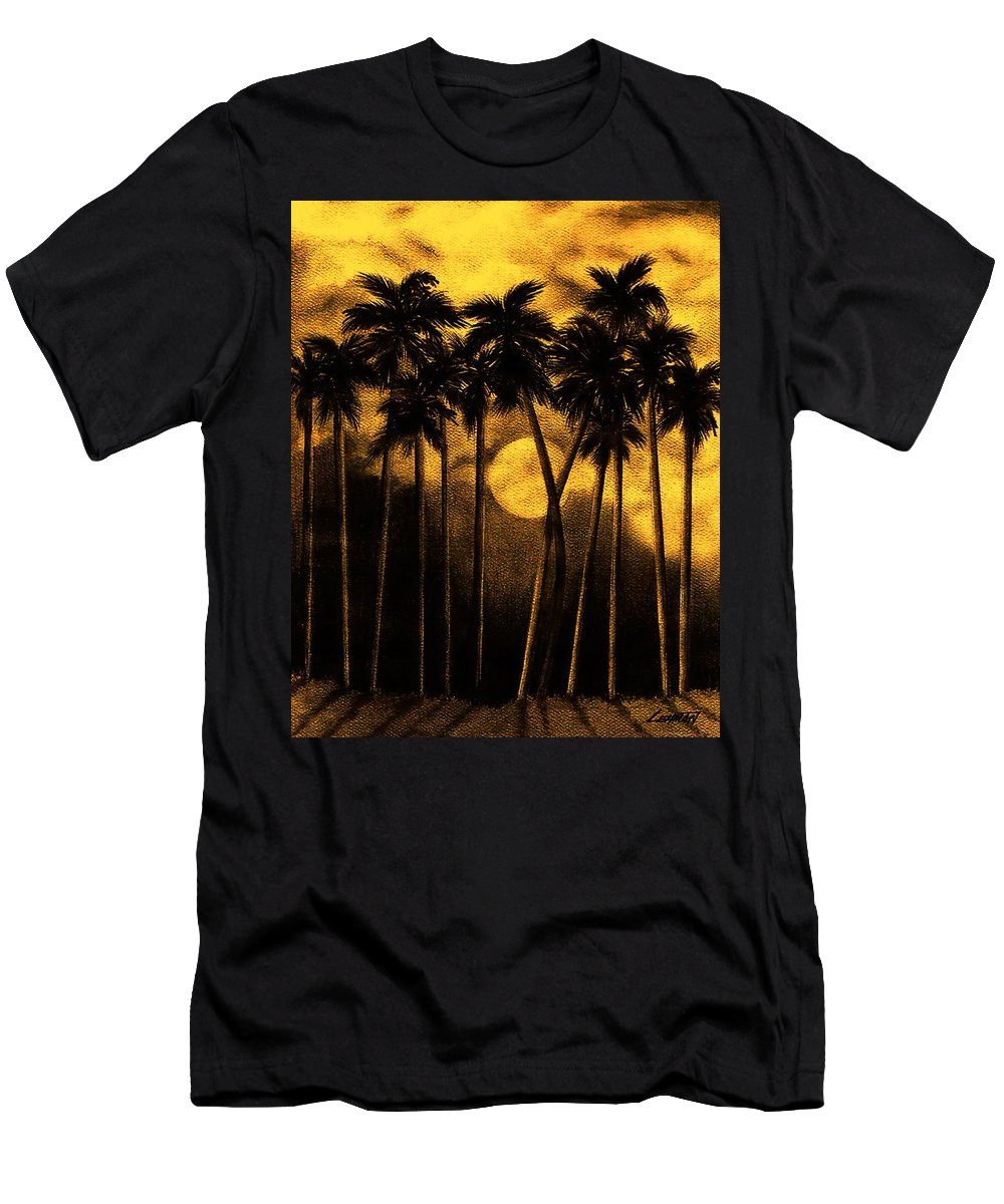 Moonlit Palm Trees In Yellow Men's T-Shirt (Athletic Fit) featuring the mixed media Moonlit Palm Trees In Yellow by Larry Lehman