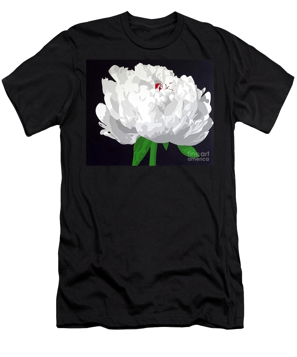 Peony Men's T-Shirt (Athletic Fit) featuring the painting Moonlit Peony by Susan Porter